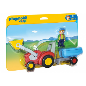 PLAYMOBIL 1.2.3: Farmer with tractor and trailer 27 x 7 x 9 cm (6964)