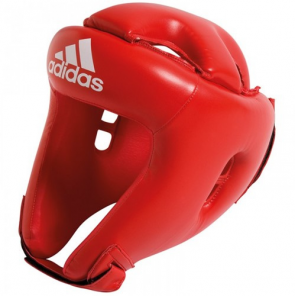 adidas headguard boxing leather red size S
