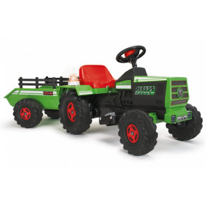 Injusa battery vehicle tractor with trailer 6V 140 cm green