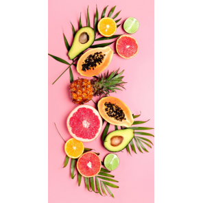 Good Morning beach towel Pink Fruits 75 x 150 cm velours