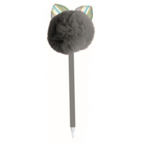 Blueprint Collections pompon pen with ears grey 24 cm