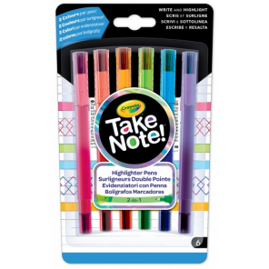 Crayola Take Note! markers with fine marker 6 pieces