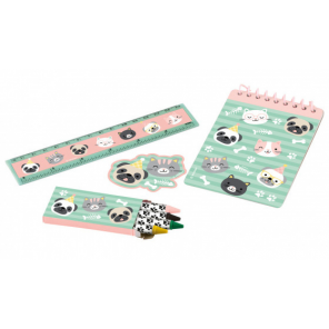 Amscan writing set Hello Pets paper green/pink 4-piece