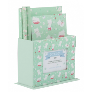 A Little Lovely Company writing set Cat junior paper green 5-piece
