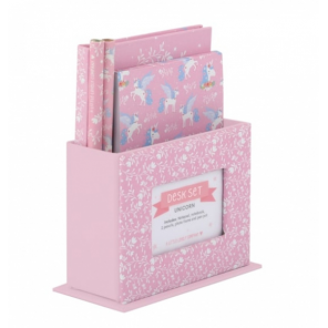 A Little Lovely Company writing set Unicorn junior paper pink 5-piece