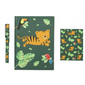 A Little Lovely Company writing set Jungle junior paper green 3-piece