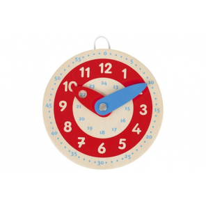 Goki Clock learn to look wood 10cm red / white