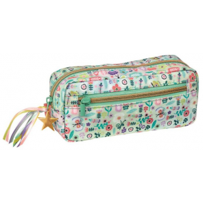 Moses pouch flowers girls 19 cm cotton green