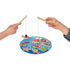 Moses fishing game junior 17 x 7 cm wood blue 13-piece