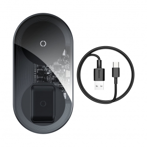 Baseus Simple Pro 2in1 Wireless Charger Qi Charger for Smartphones and AirPods 15W transparent (WXJK-CA02)