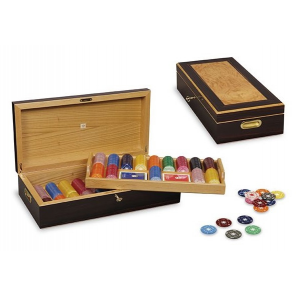 Dal Negro poker set with chip holder 49,5 x 25 x 12,5 cm wood brown