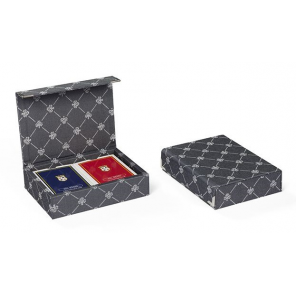 Dal Negro playing cards with holder Prestige textile grey 3-piece