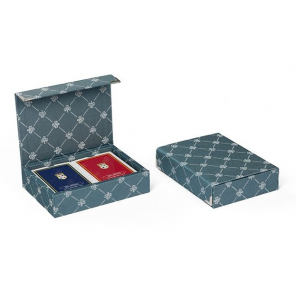 Dal Negro playing cards with holder Prestige textile green 3-piece