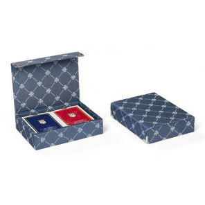 Dal Negro playing cards with holder Prestige textile blue 3-piece