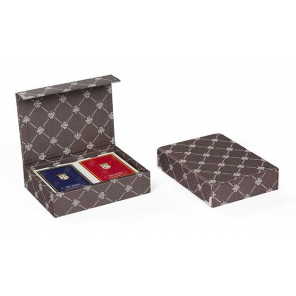Dal Negro playing cards with holder Prestige textile brown 3-piece