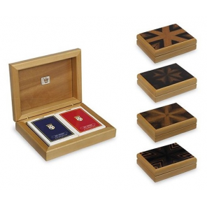 Dal Negro playing cards with holder wood brown 3-part