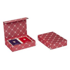 Dal Negro playing cards with holder Prestige textile red 3-piece