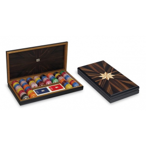 Dal Negro poker set with chip holder 41 x 21 cm wood brown 3-piece