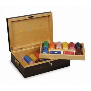 Dal Negro poker set with chip holder 35 x 25 x 12,5 cm wood brown