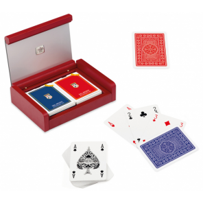 Dal Negro playing cards with holder Dibond cardboard red 3-part