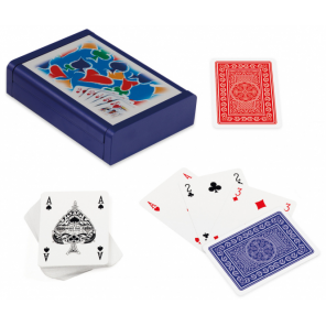 Dal Negro playing cards with holder Dibond cardboard blue 3-part