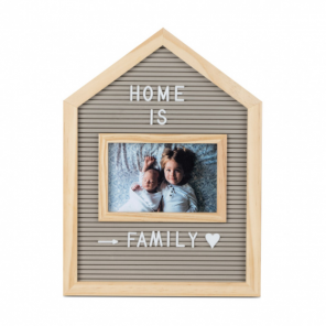 Balvi letterboard with photo frame 34 cm wood grey