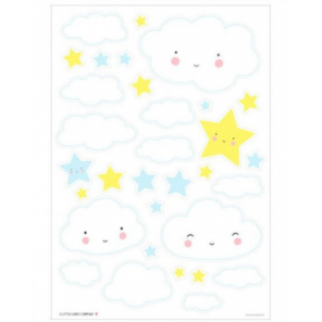 A Little Lovely Company wall stickers Cloud junior 50 cm vinyl blue/yellow