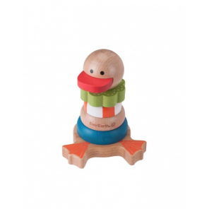Everearth Wooden stacking rings duck multicolor 13 cm