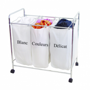Compactor laundry basket on wheels 3 compartments 74 x 45.5 x 75 cm