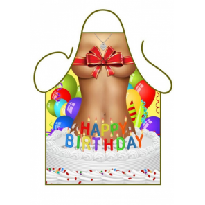 Partychimp apron Happy Birthday 80 x 56 cm polyester one-size