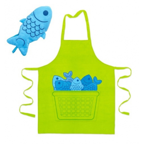 Balvi apron & oven glove Blue Fin cotton/polyester green/blue