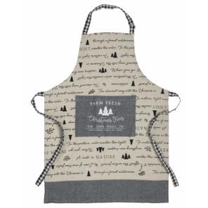 Amo La Casa apron Christmas tree 80 x 60 cm cotton beige/grey