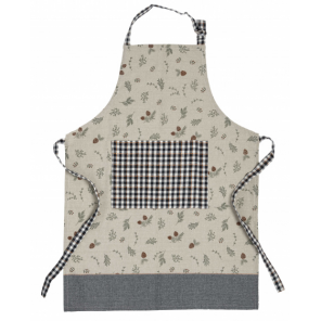 Amo La Casa apron Christmas branch 80 x 60 cm cotton beige/grey
