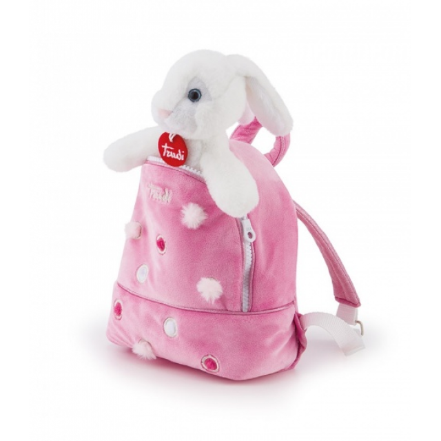 Trudi rabbit cuddly toy in backpack white/pink 19 x 20 x 11 cm