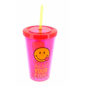 Blueprint Collections drinking cup with straw Smiley 500 ml pink/yellow