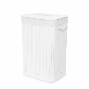 Compactor laundry basket Bamboo foldable 45 x 60 cm bamboo white