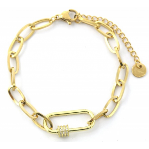MH Bijoux link bracelet Paperclip Crystals ladies stainless steel gold