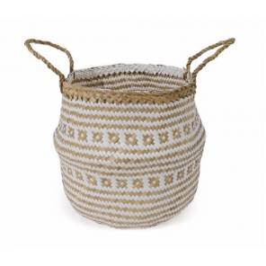 Compactor basket Belly 35 x 32 cm seagrass/paper beige size m