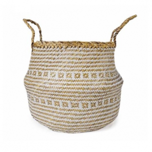 Compactor basket Belly 40 x 36 cm seagrass/paper beige size l