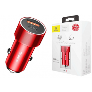 Baseus Car Charger Small Screw Type-C PD + USB Quick Charge 36W Red (CAXLD-A09)