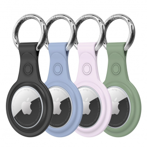 Dux Ducis 4pcs set Silicone flexible cover keychain loop case for Apple AirTag (Black / Green / Pink / Blue)